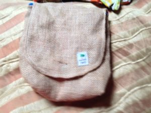 Small bag made from sacking